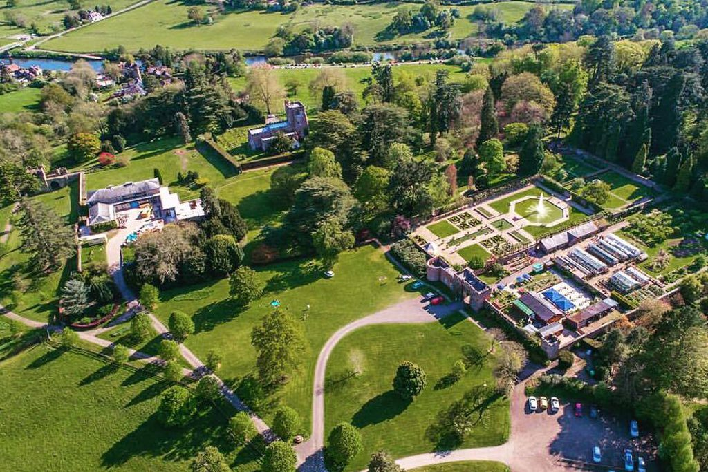 Air view of Arley house and gardens