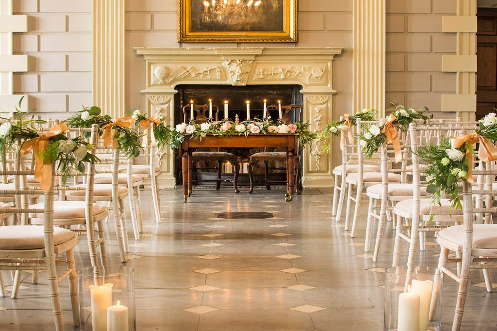 Davenport House wedding aisle with flower chairs